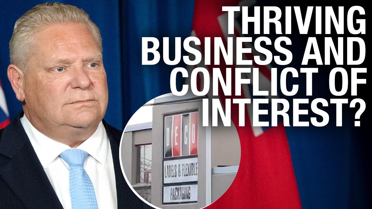 Quarantine hotel protesters visit Premier Ford's family biz, Deco Labels