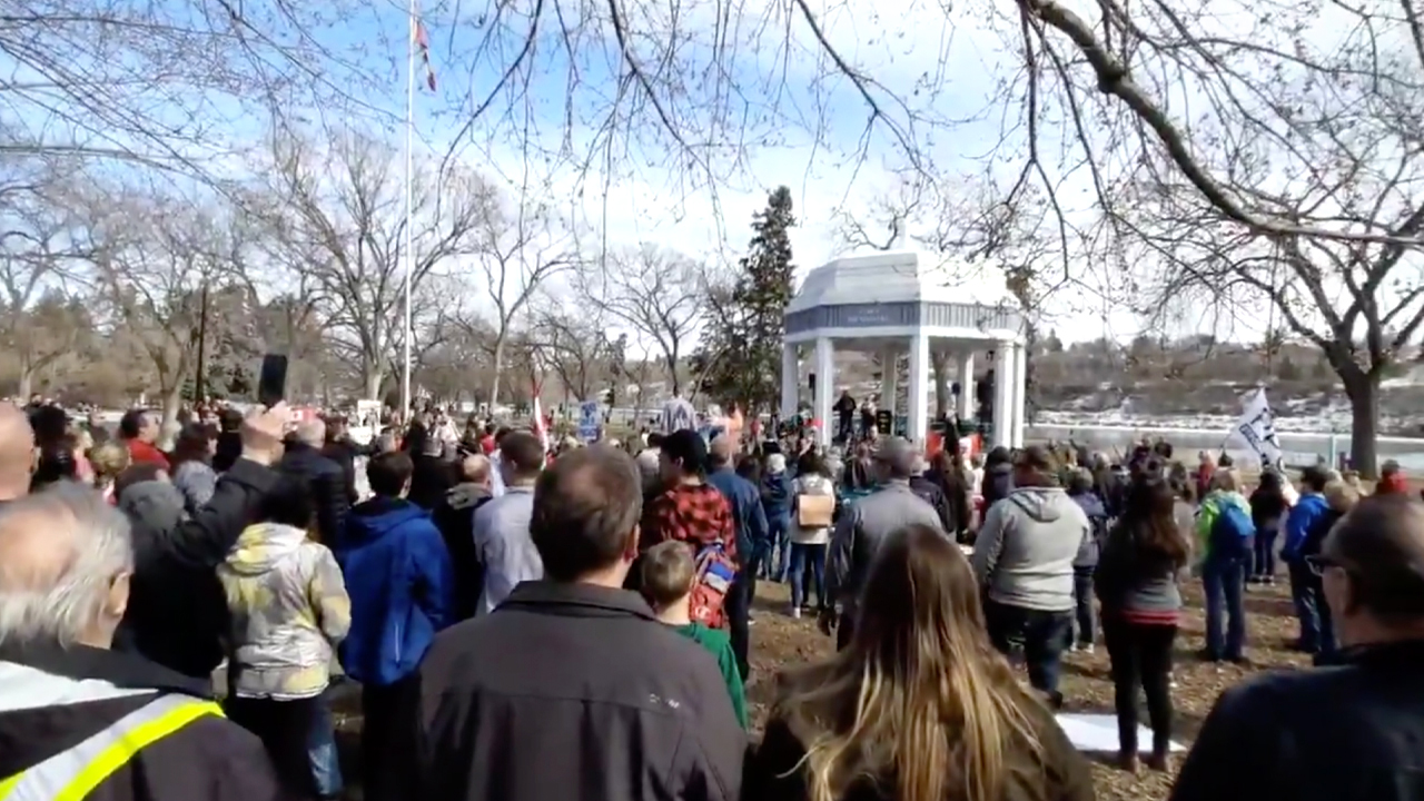 Prairie protesters rally against COVID restrictions in Saskatchewan