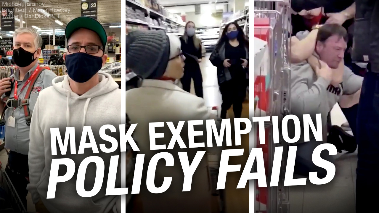 """No, """"store policy"""" can't include """"No Mask Exemptions"""""""