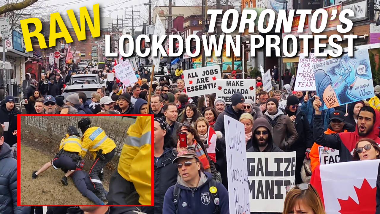 RAW FOOTAGE: Weekly Toronto Freedom Rally stops at COVID assessment centre