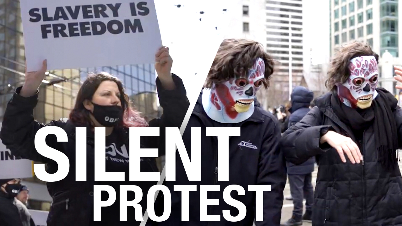 Vancouver anti-lockdown protesters shock people with creepy silent march