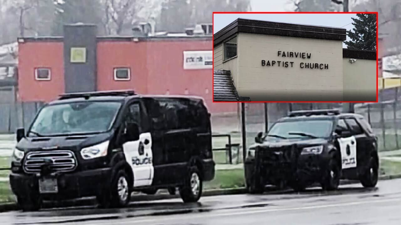 Police outside of Calgary's Fairview Baptist Church