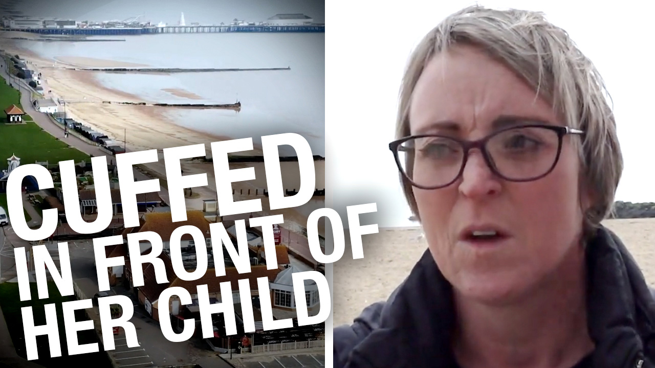 Mother handcuffed & humiliated for playing ball on the beach her with family
