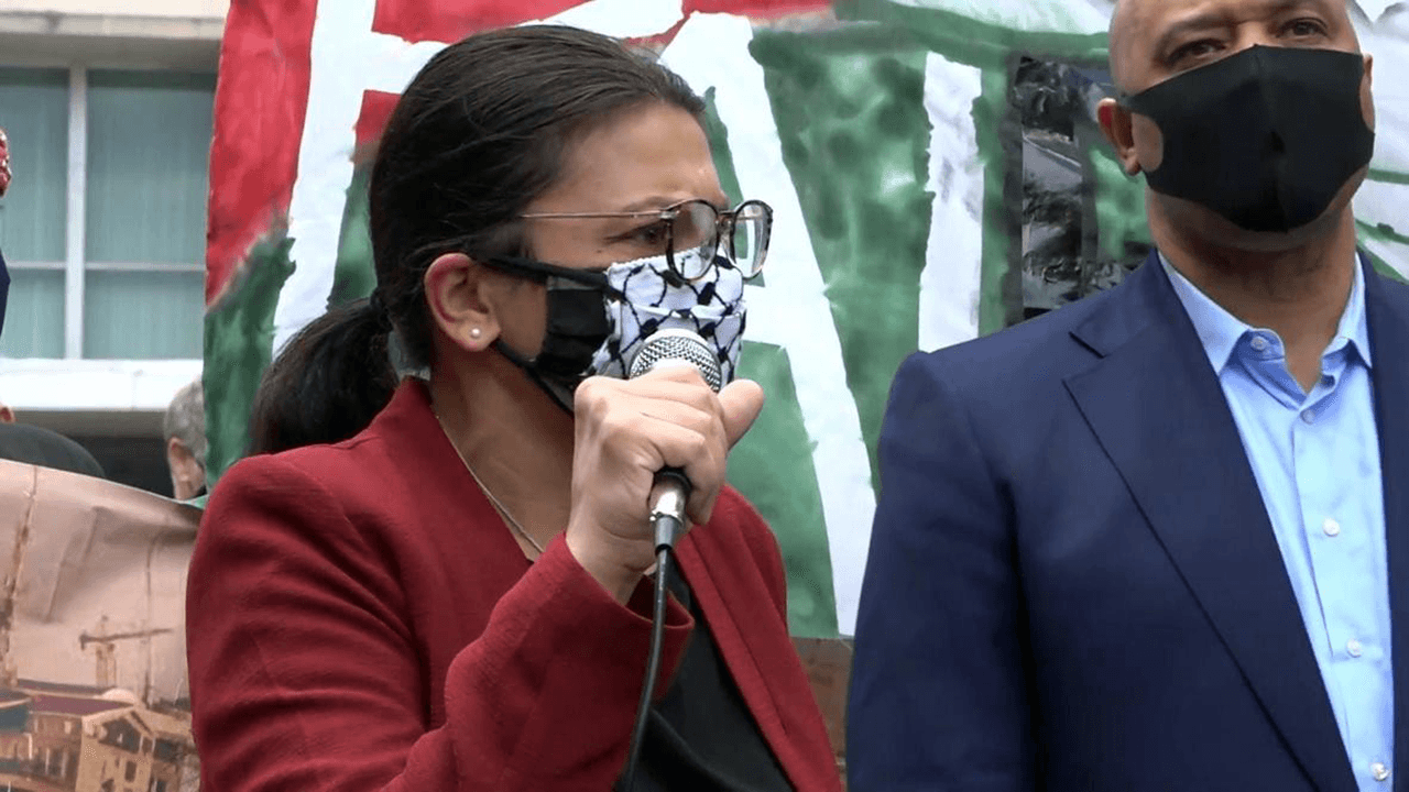Rashida Tlaib speaks at fringe rally where activists call for elimination of Israel