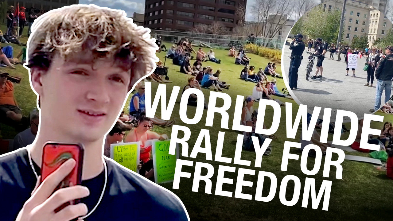 """Edmonton protesters """"tired of the bull****"""" gather for Worldwide Freedom Rally"""