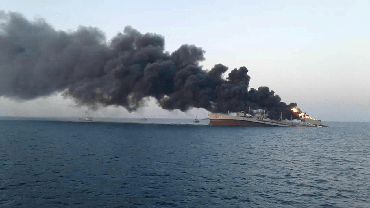 Iran's largest navy ship sinks after catching fire in Gulf of Oman