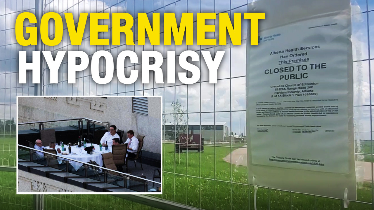 GraceLife Church remains fenced off as Jason Kenney and friends enjoy illegal patio meal