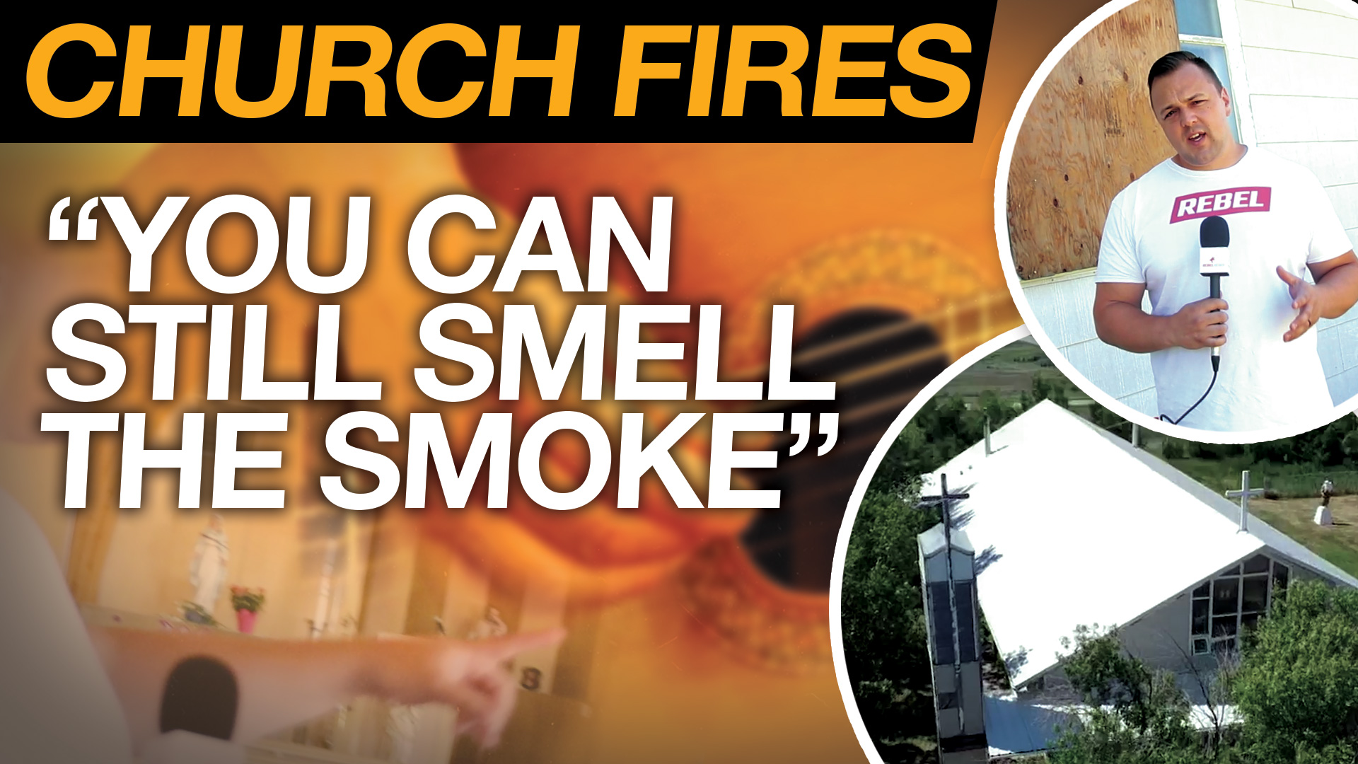 Priest tours burned Catholic church with Rebel News on Siksika First Nation