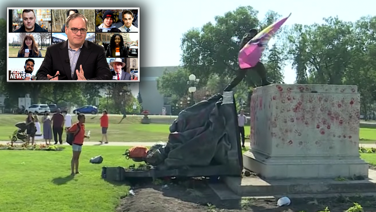 Mobs tear down Queen Victoria and Queen Elizabeth II statues