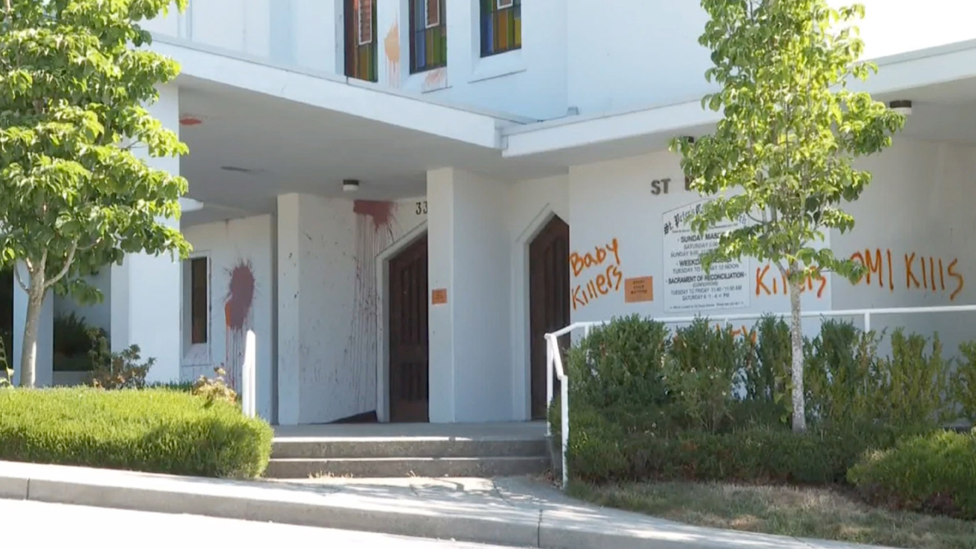 """Vandals spray paint """"Baby Killers"""", """"You're Guilty"""" on New Westminster Catholic church"""