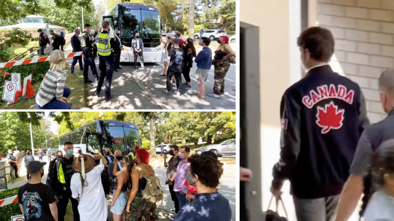 Trudeau campaign bus blocked by indigenous protesters on Vancouver Island