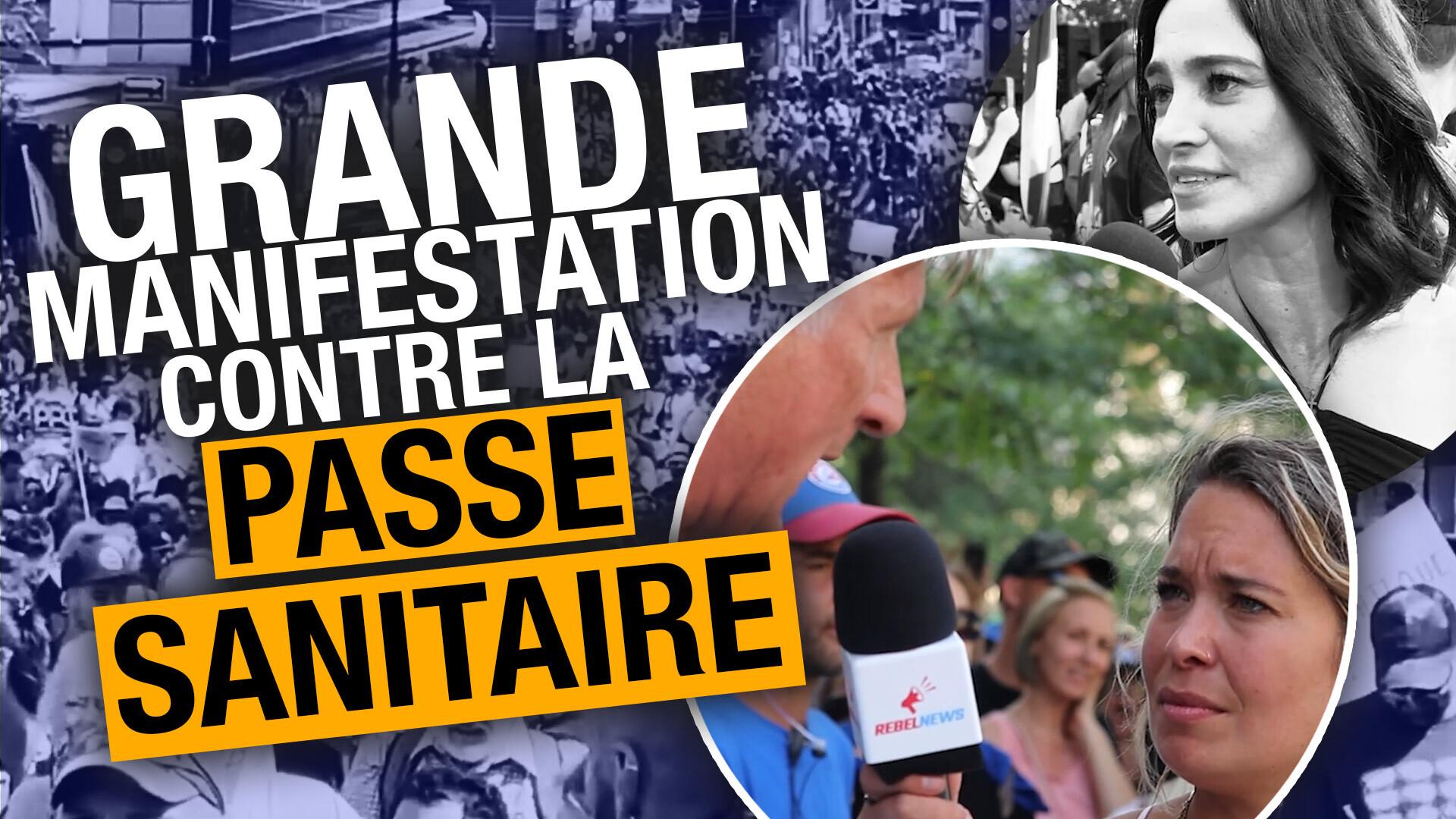 Des dizaines de milliers de personnes manifestent contre les passeports vaccinal à Montréal