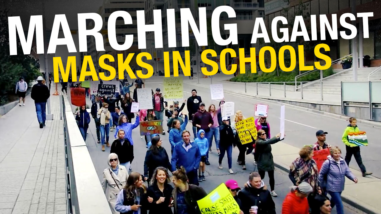 """Kids only """"being taught to comply"""": Protesters oppose Calgary school mask mandate"""