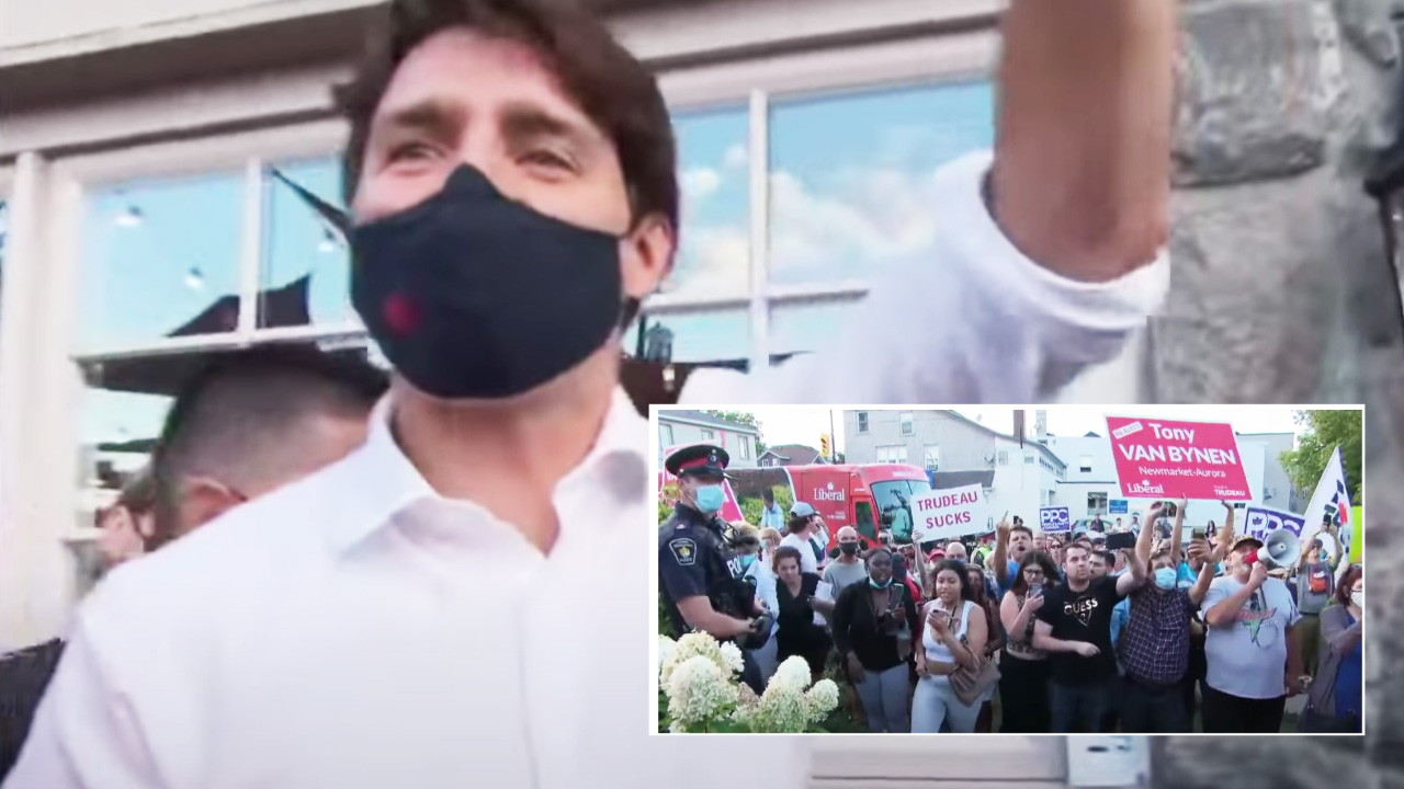 Trudeau heckled at Newmarket campaign stop by protesters shouting