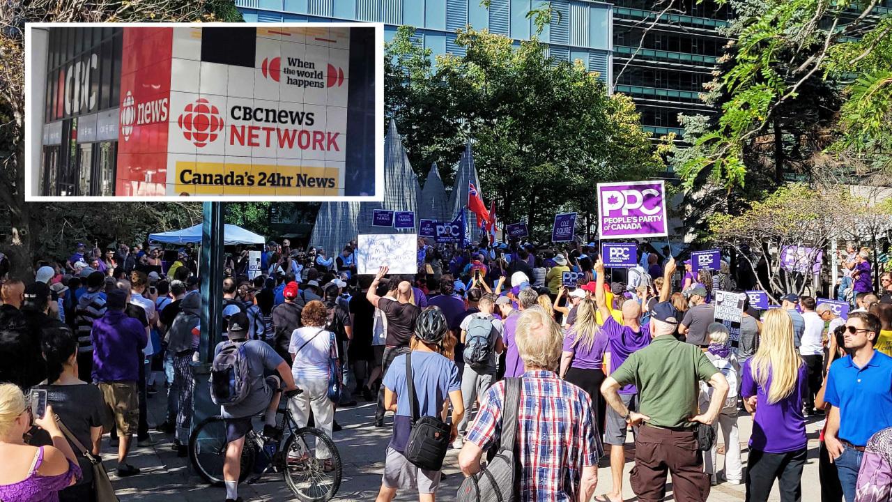 Maxime Bernier's PPC holds rally outside CBC Toronto