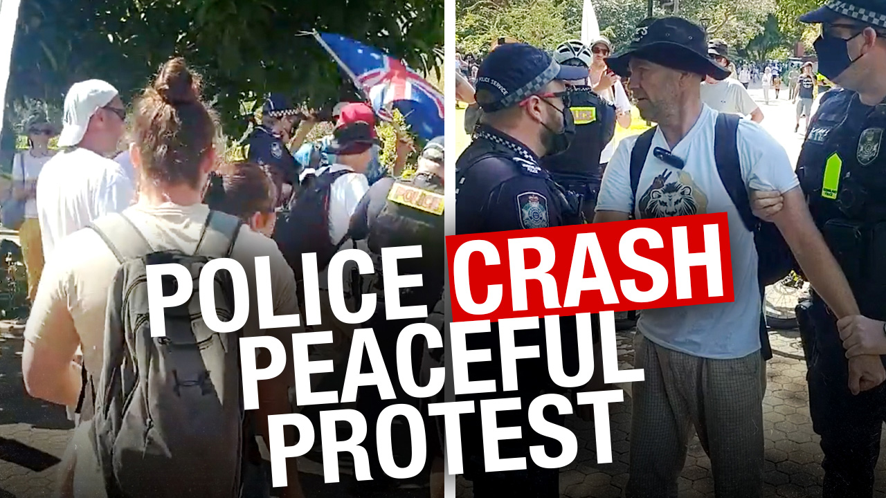 Chaos and confusion as drone pilot ARRESTED at Brisbane freedom rally