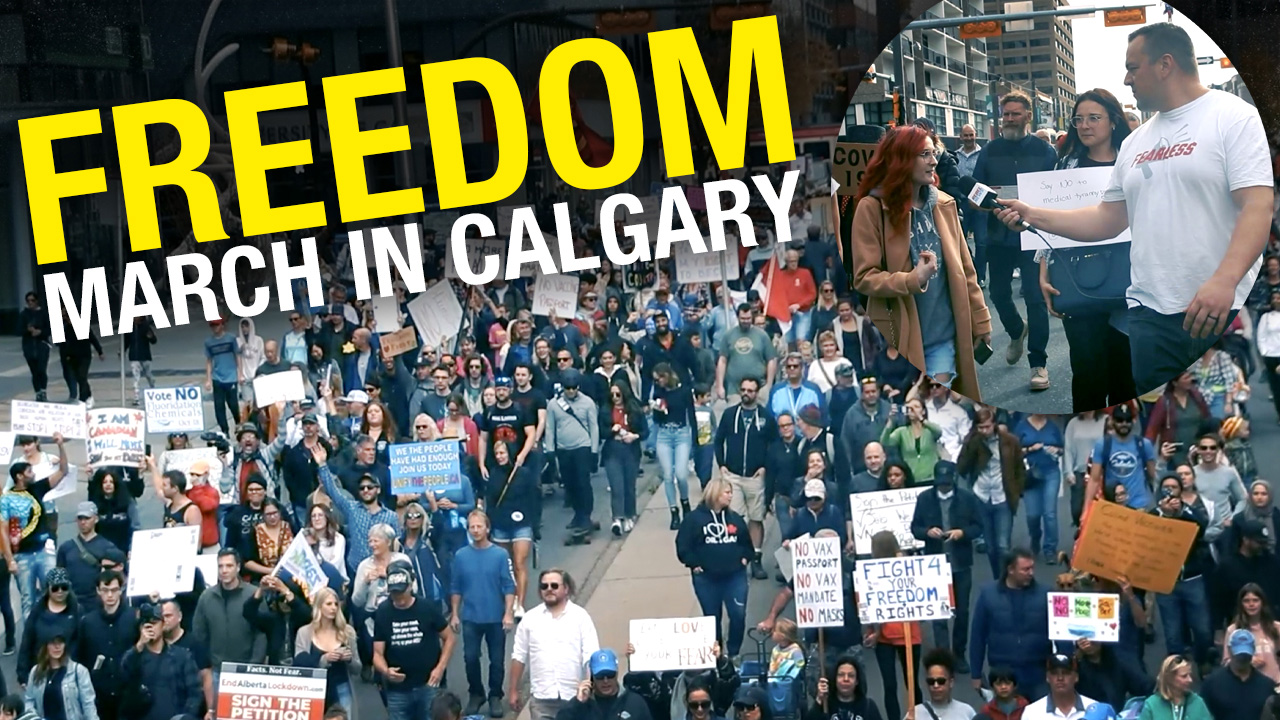 Calgarians out in full force to protest vaccine passports at United for Freedom rally