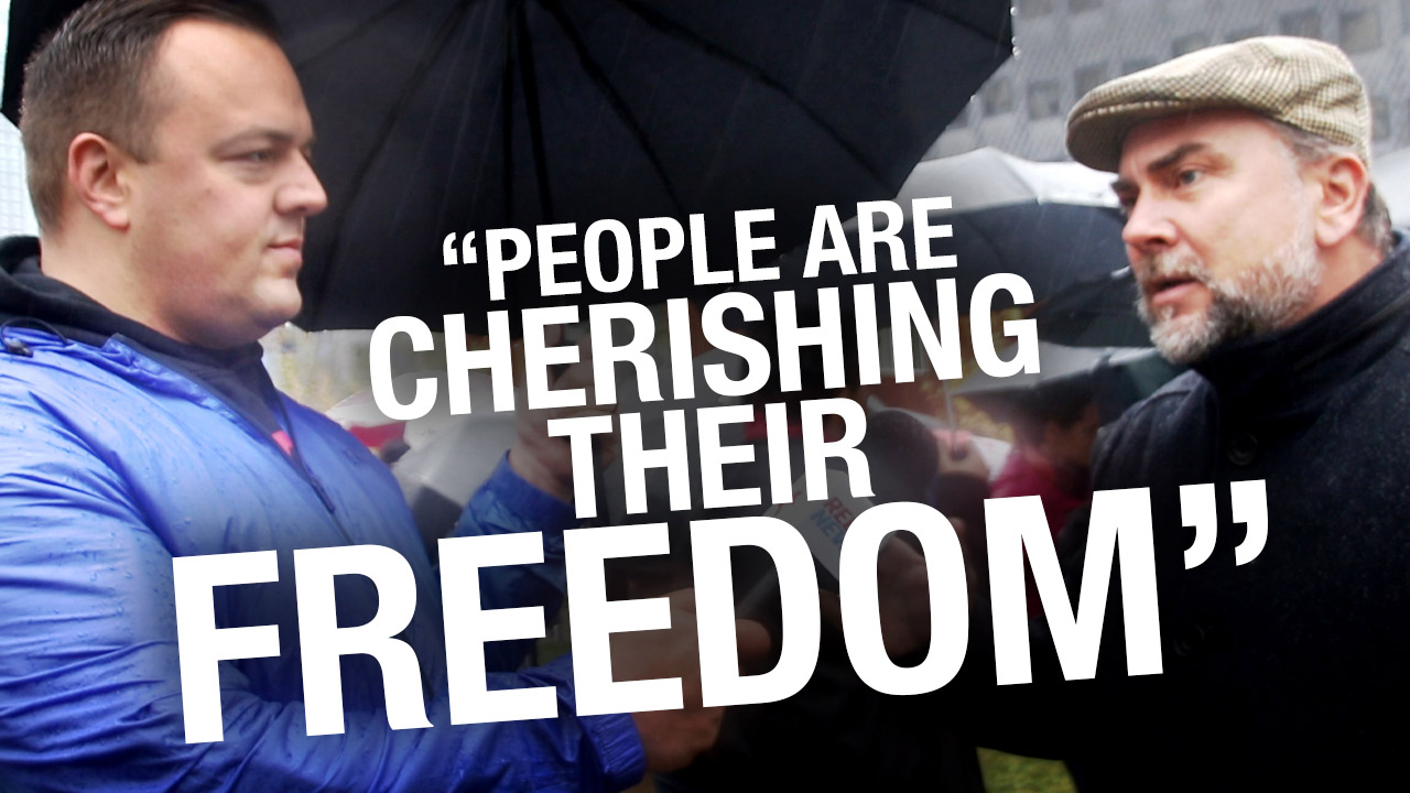 'This is nothing': Hundreds brave freezing cold, pouring rain to rally for freedom