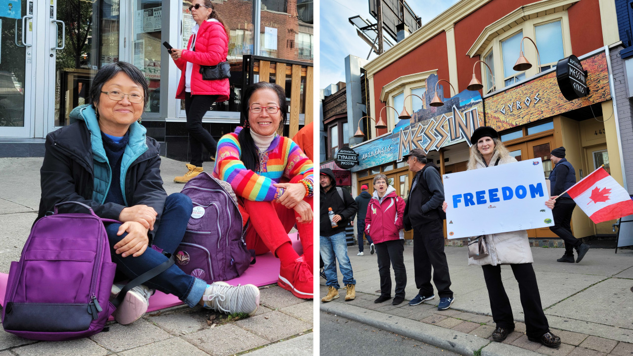 'United non-compliance' street picnic protest takes over Toronto's Greektown