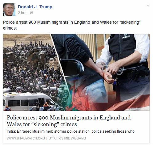 Donald Trump links to JihadWatch story on Facebook proving