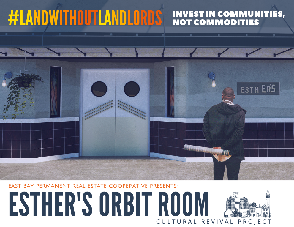 A black man stands outside Esthers Orbit Room with building plans