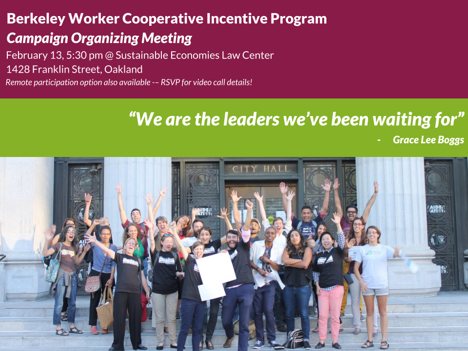 Worker Cooperative advocates in front of city hall