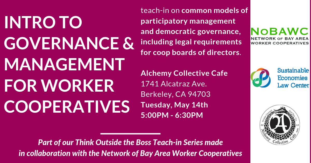 Think Outside the Boss: Intro to Governance & Management for Worker Cooperatives