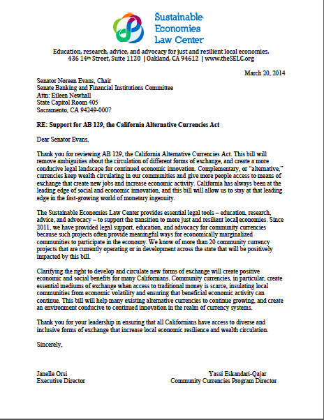 Read SELC's letter in support of AB 129