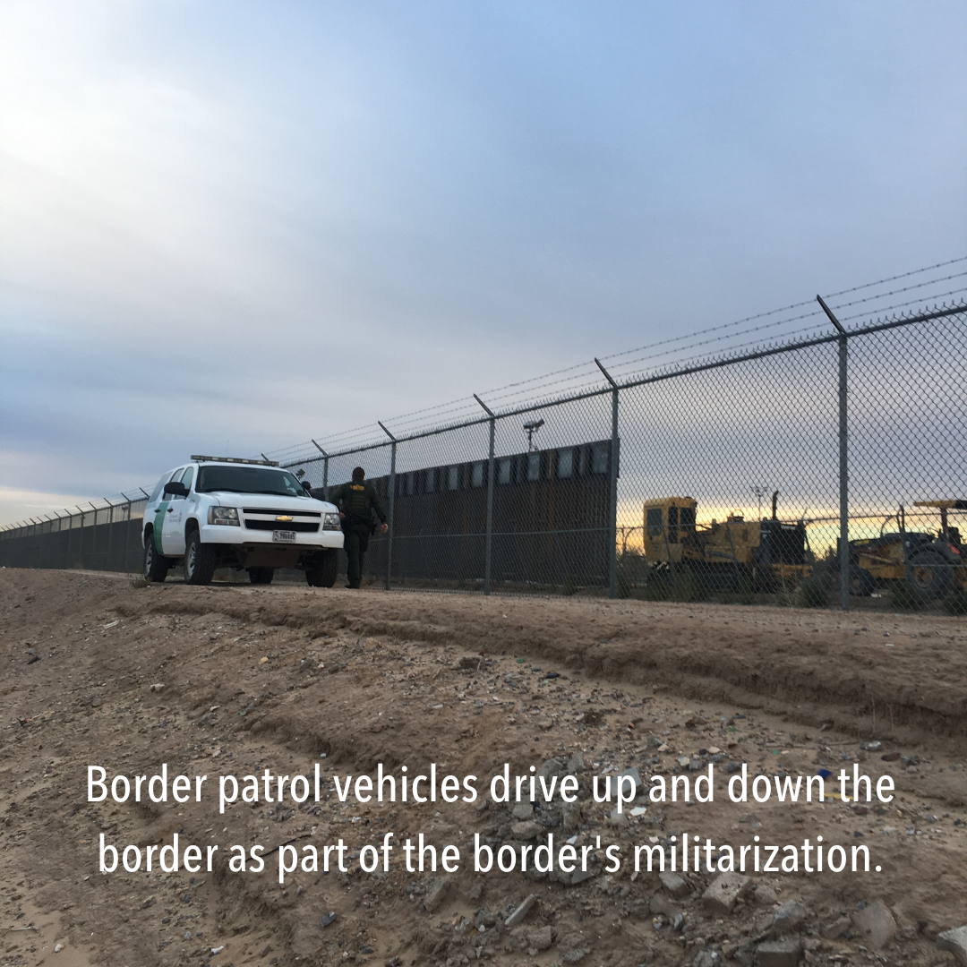 the border. The Rio Grande was once the border, but would often snake around the land and change the contours. chainlink with wall and car: Border patrol vehicles drive up and down the border as part of the border's militarization.