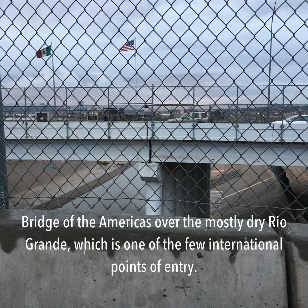 chainlink image: Bridge of the Americas over the mostly dry Rio Grande, which is one of the few international points of entry.