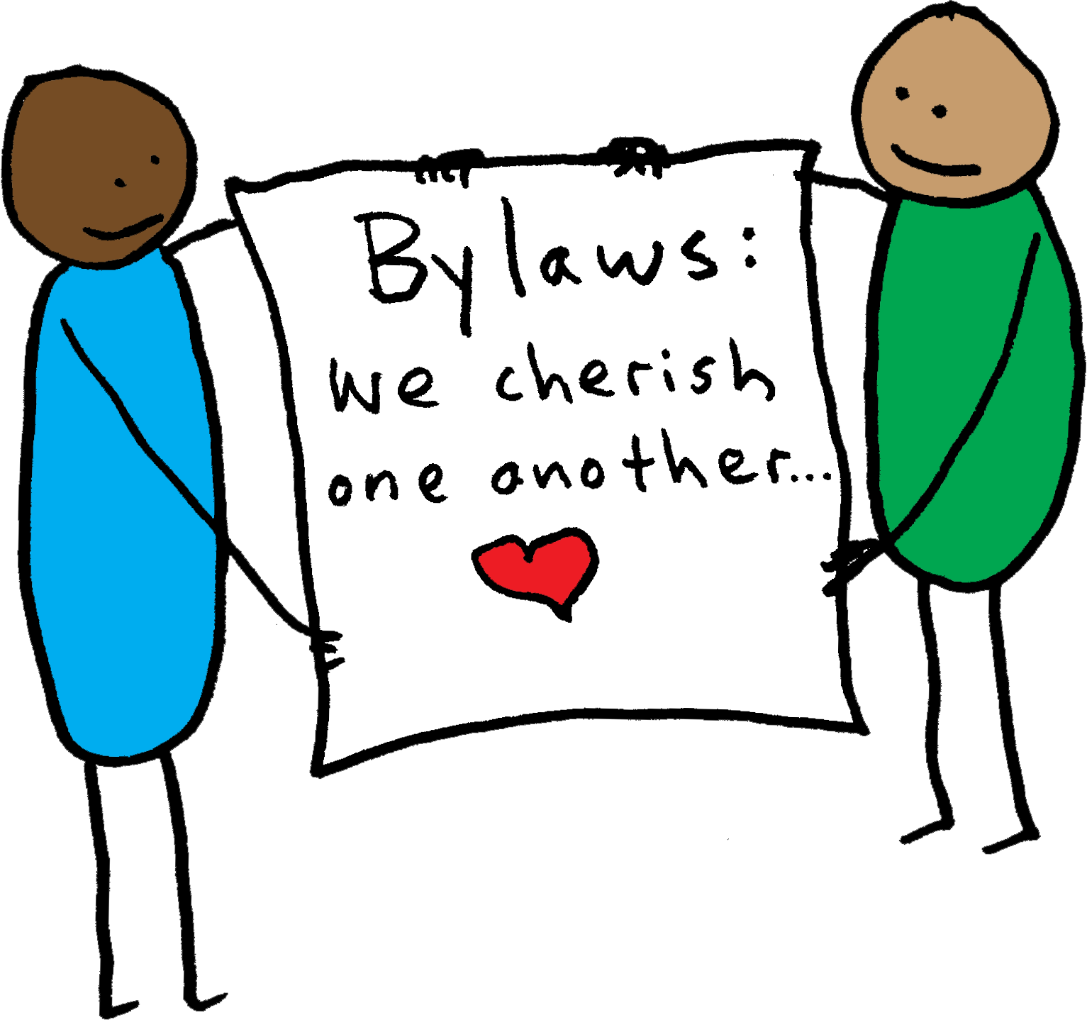 two people holding bylaws of love