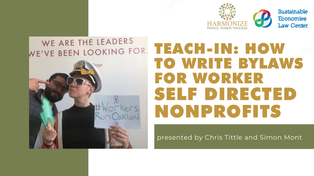 TEACH-IN: HOW TO WRITE BYLAWS FOR WORKER SELF DIRECTED NONPROFITS