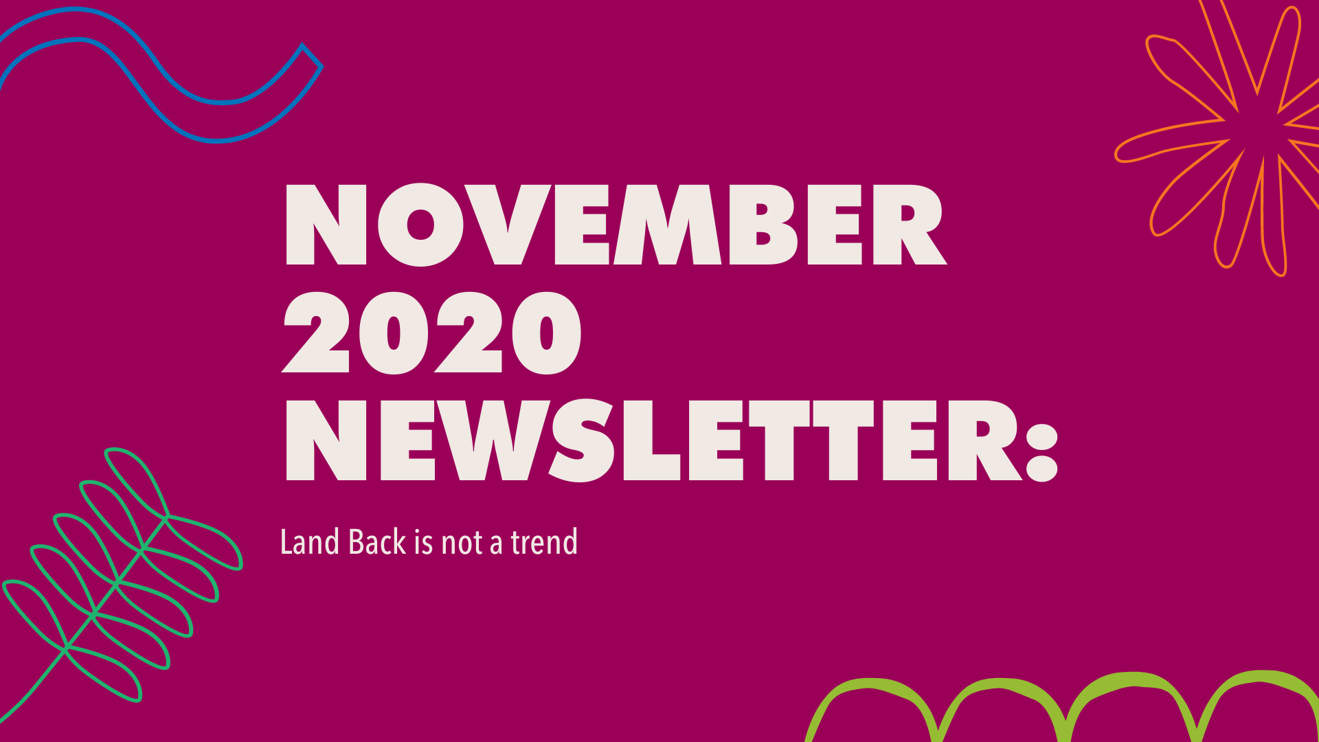 November 2020 Newsletter banner