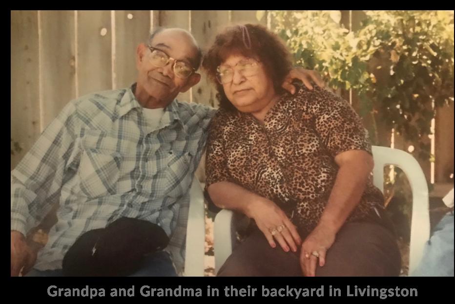 Grandpa and Grandma in their backyard in Livingston
