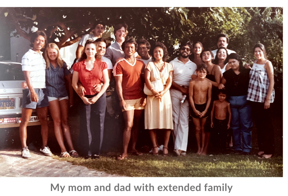 My mom and dad with extended family