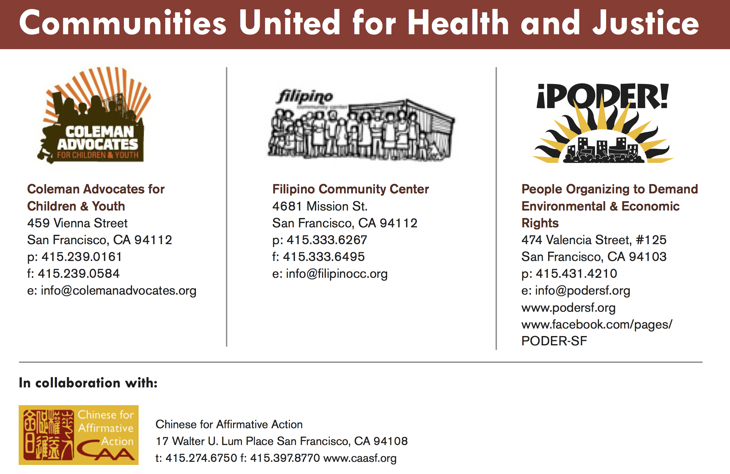 Communities United for Health and Justice