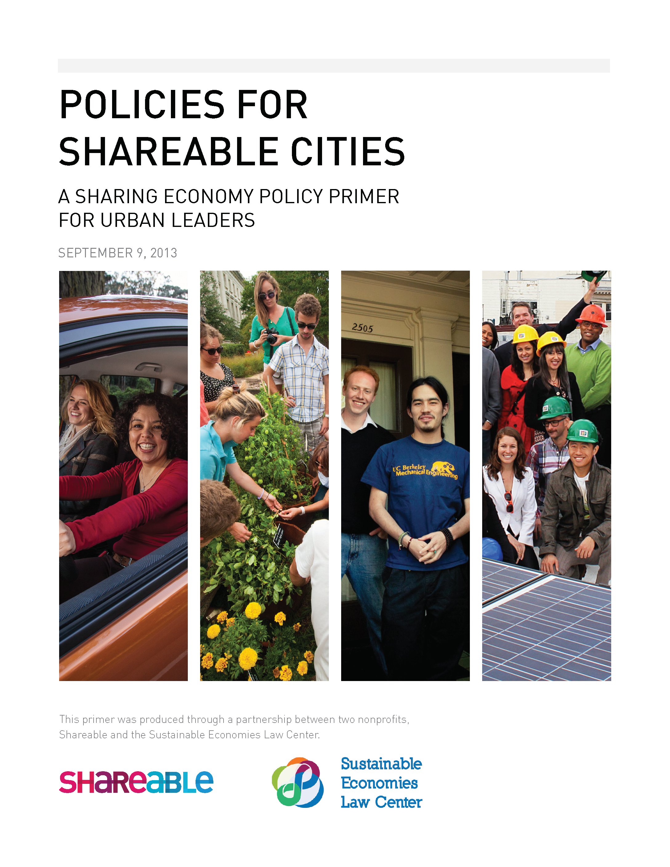 Policies for Sharable Cities Title Page