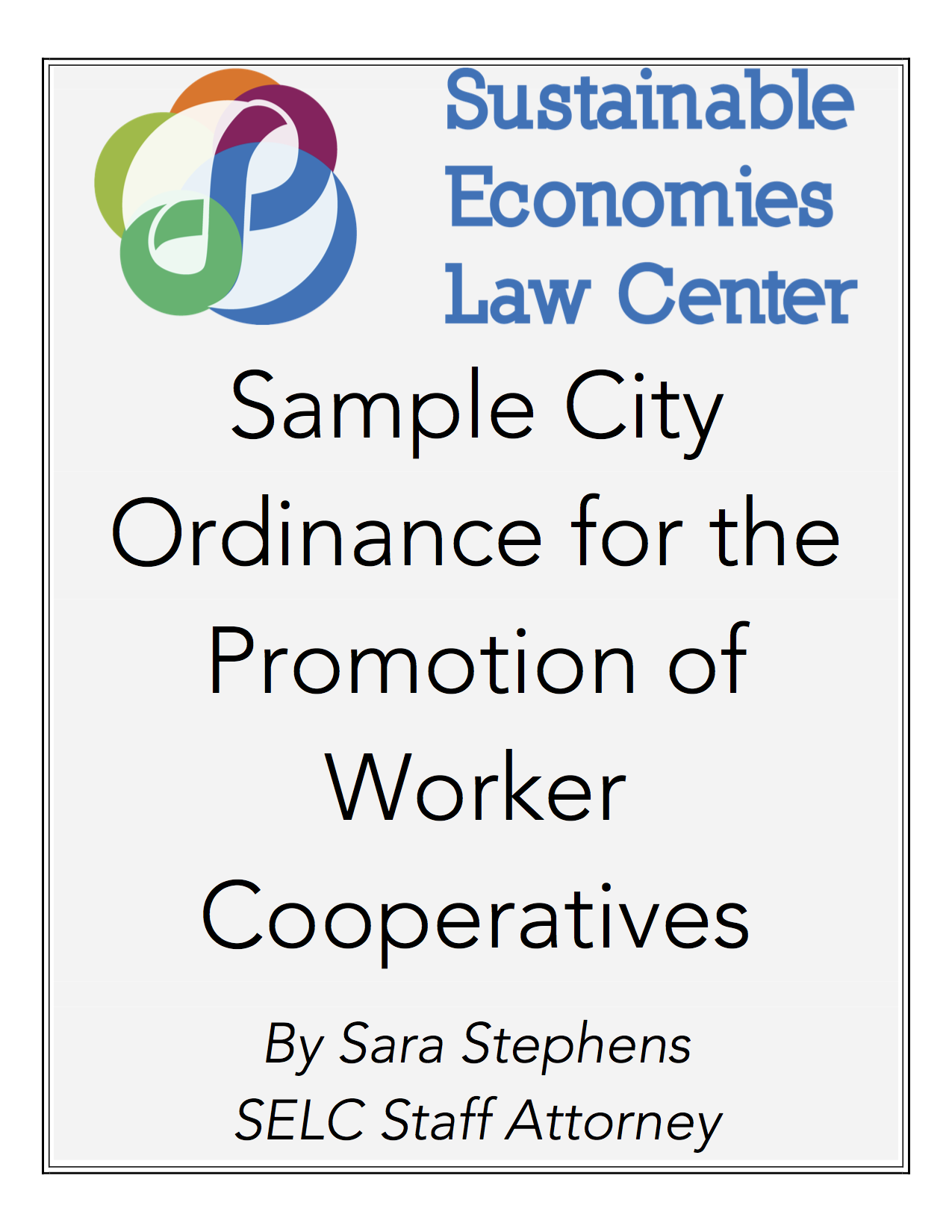 Download our sample city ordinance for the promotion of worker cooperatives!