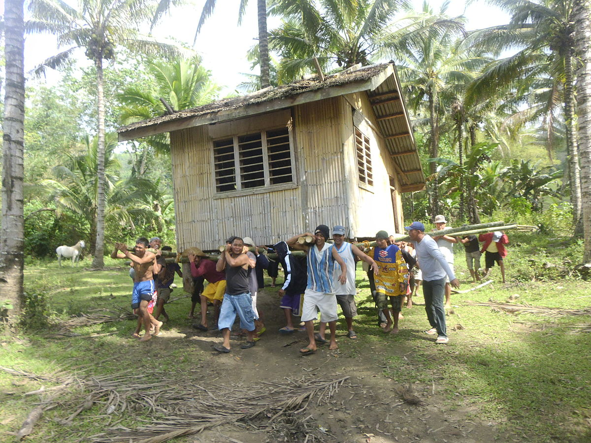 Bayanihan: community members working together to move a house. Wikimedia Commons 2012