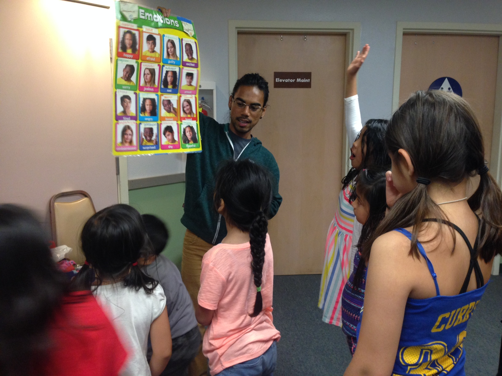 Camp instructor Rani Marcos teaches the younger camp participants Tagalog words for feelings and emotions