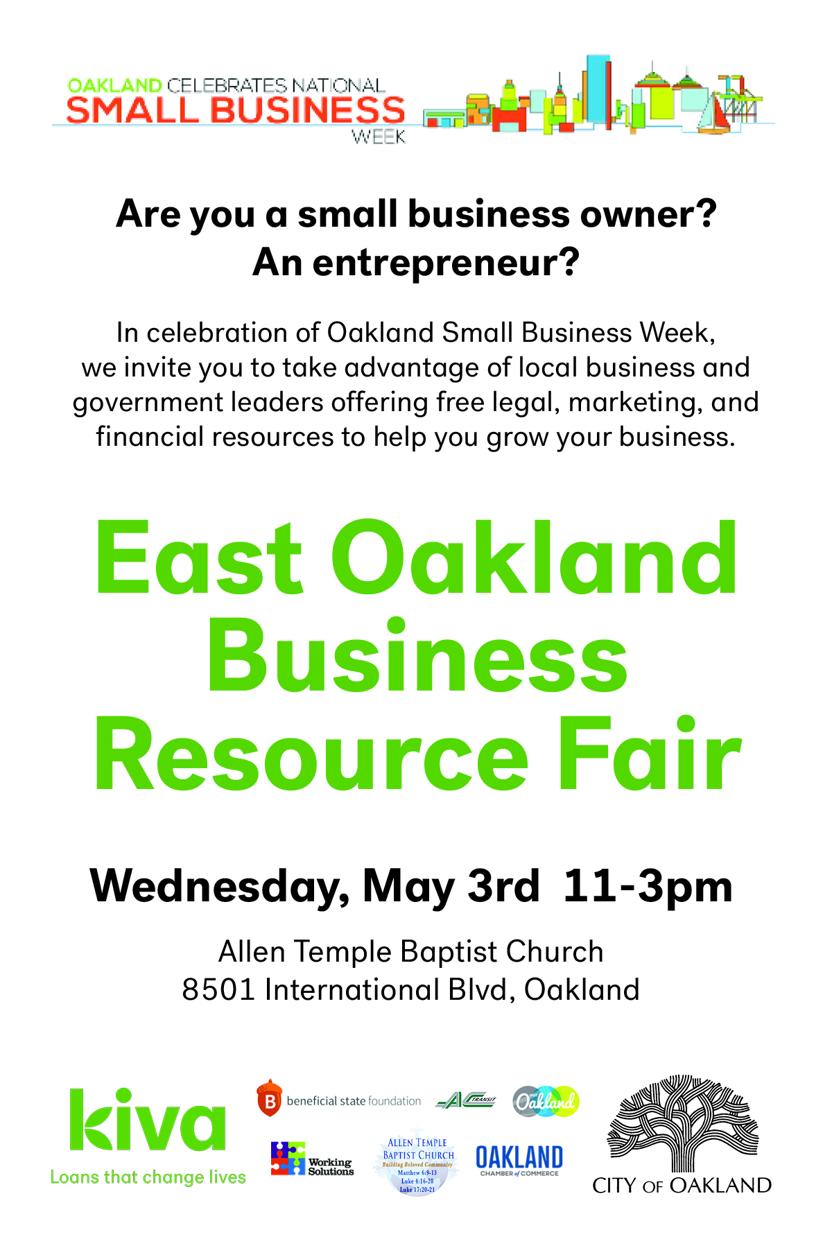 RSVP to the East Oakland Small business fair