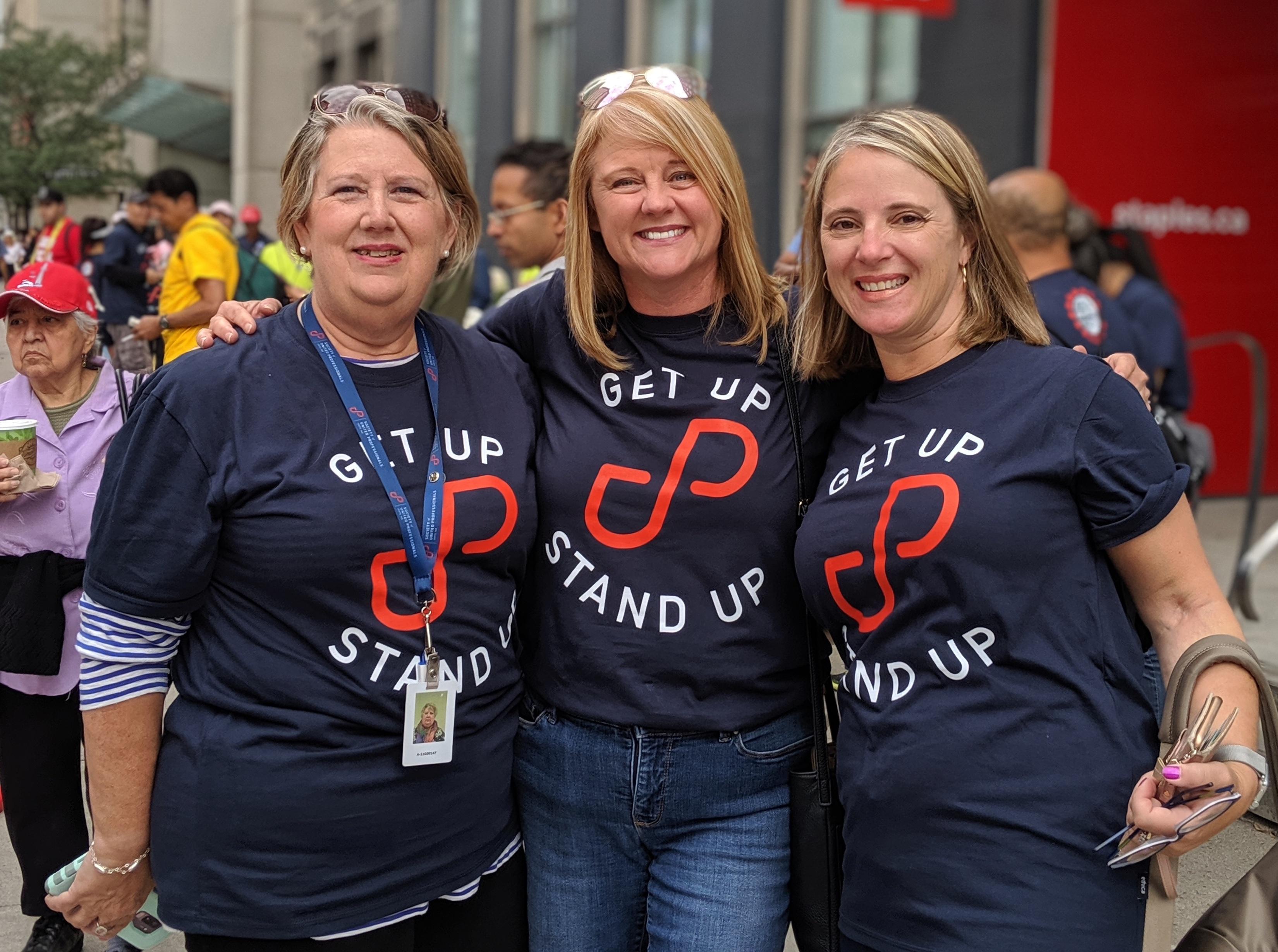 LVP Judith Logan Junop, Secretary-Treasurer Michelle Johnston and LVP Vicki Power at Labour Day 2019