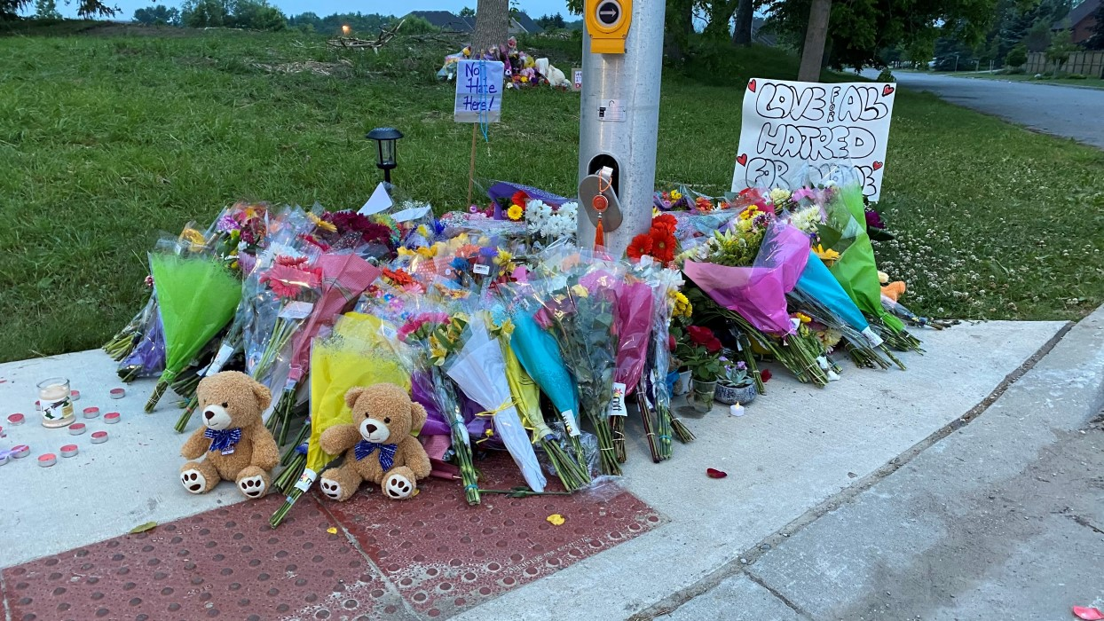 Flowers at a memorial for the victims of the London, Ontario attack on a Muslim family