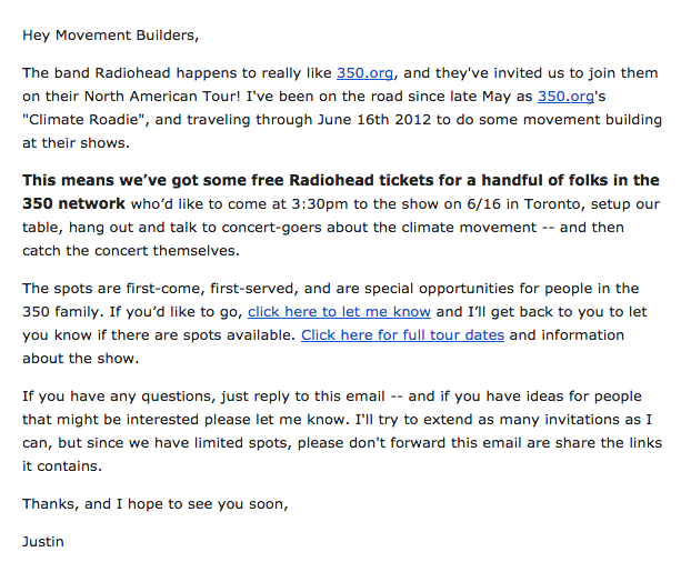 The original email sent by 350.org about the Radiohead concert