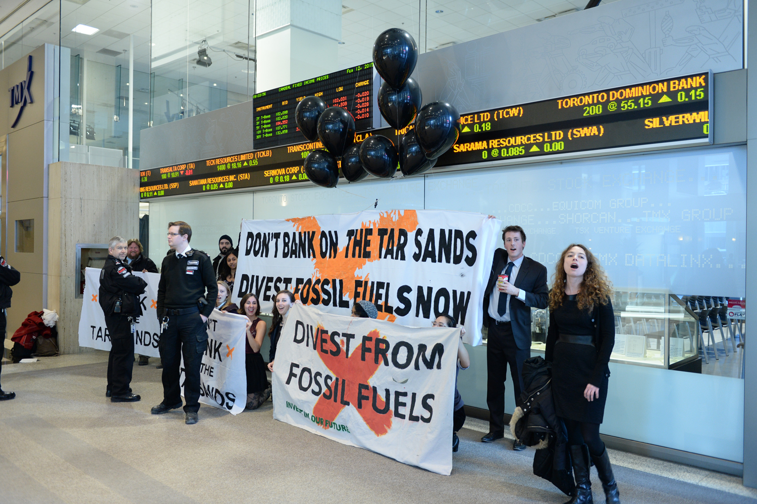 Climate activists disrupt the Toronto Stock Exchange (TSX)