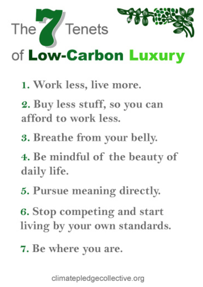 7 tenants of low-carbon luxury - climatepledgecollective.org