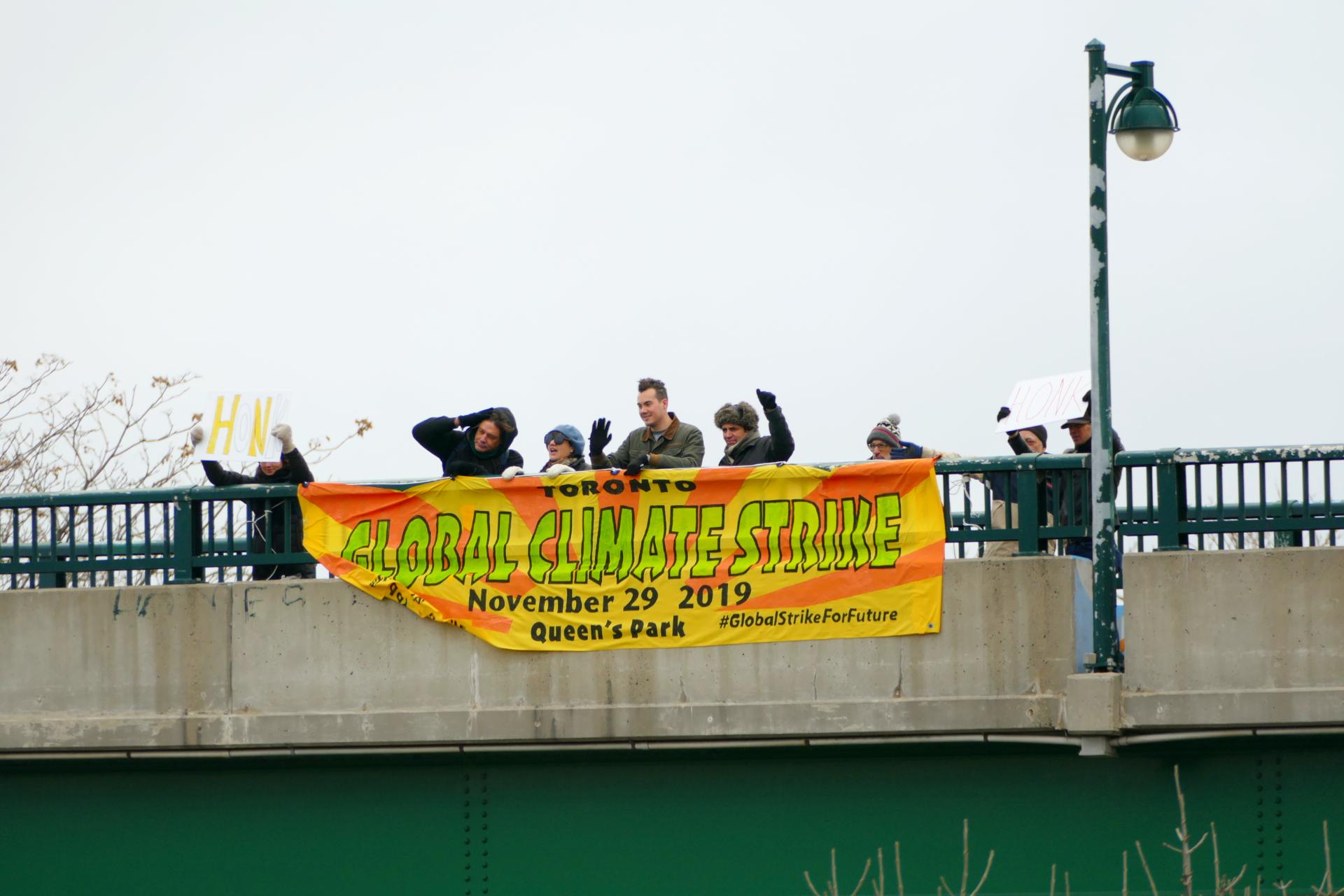 Banner over the Gardiner TO350 November 28, 2019