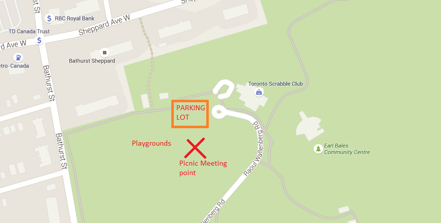 Map of the location in the park to meet - a little south of the parking lot