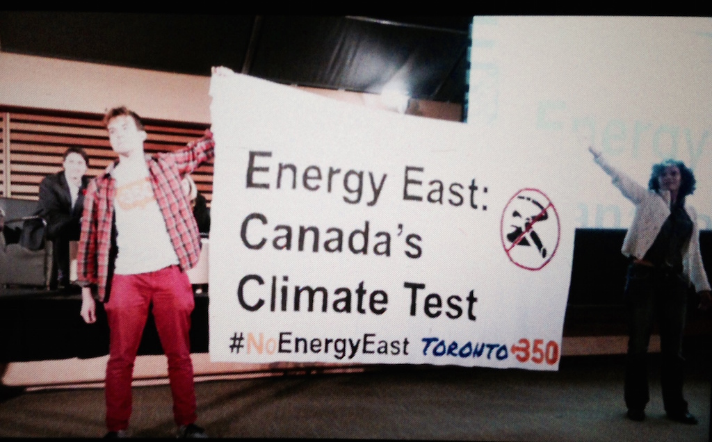 A banner that says Energy East - Canada's Climate Test