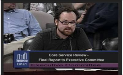 Transit Campaigner Jamie Kirkpatrick talked to Exec Committee just before midnight on Sept 19